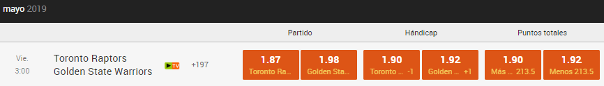 apuestas final nba warriors raptors