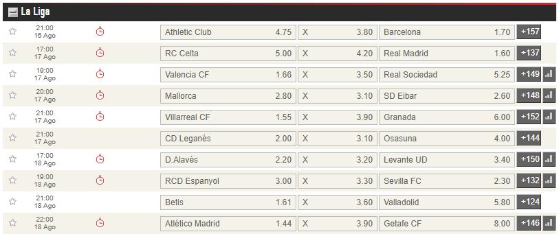 apuestas primera jornada liga